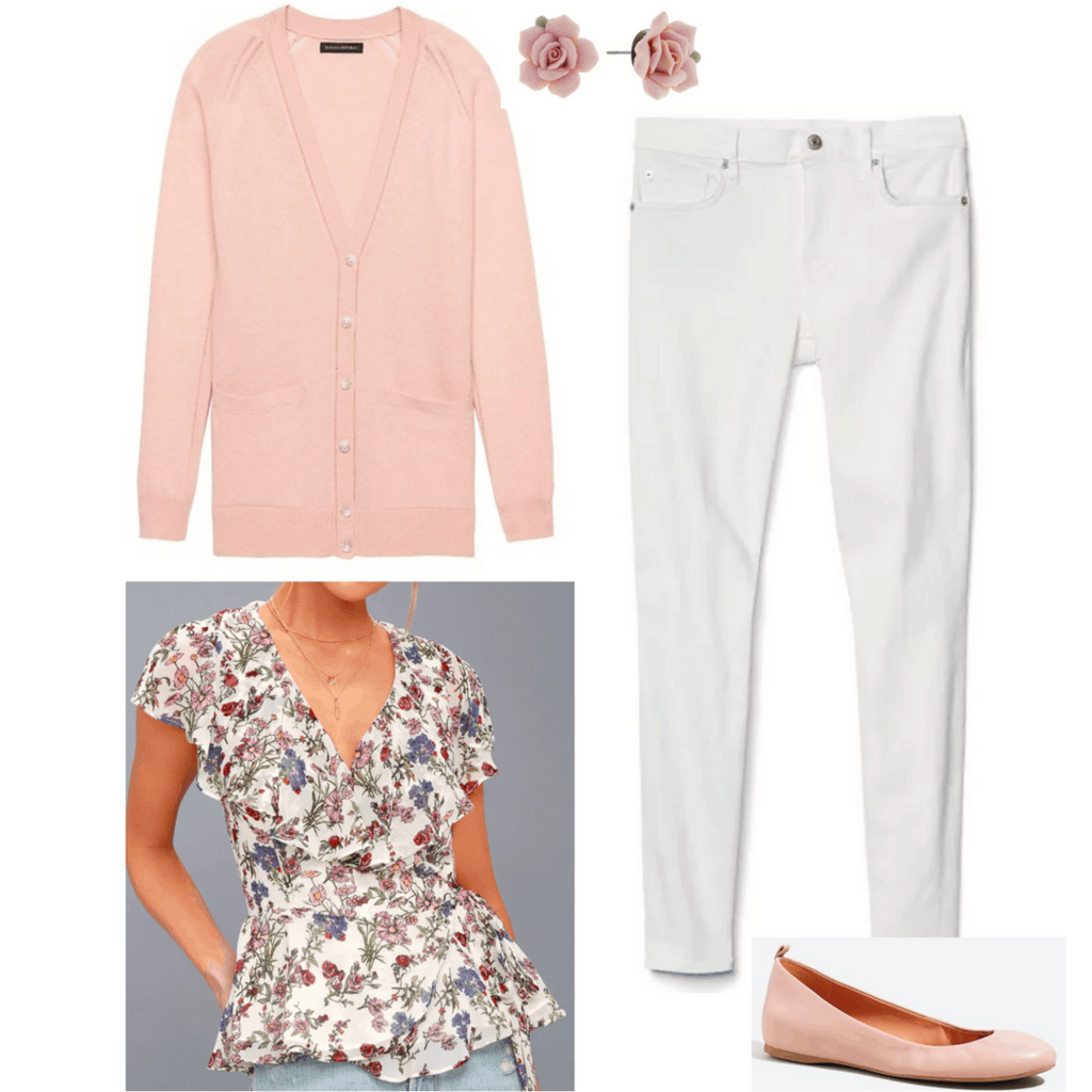 blush pink cardigan white jeans floral blouse rose earrings nude ballet flats outfit