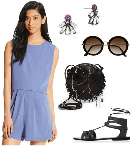 romper, black sandals, sunglasses