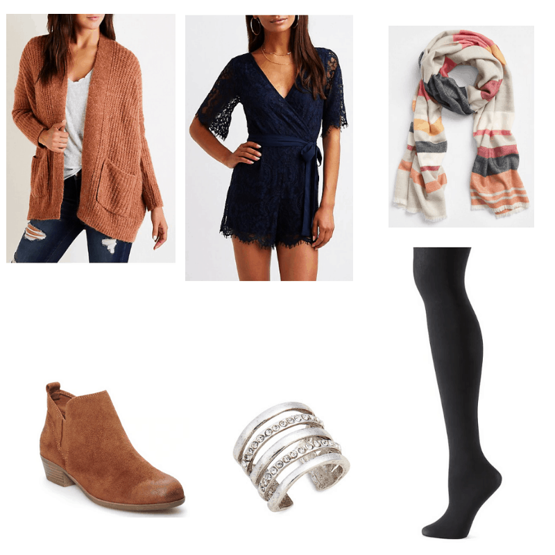 Outfit with lace romper, textured cardigan, striped scarf, black tights, ankle boots, and ring