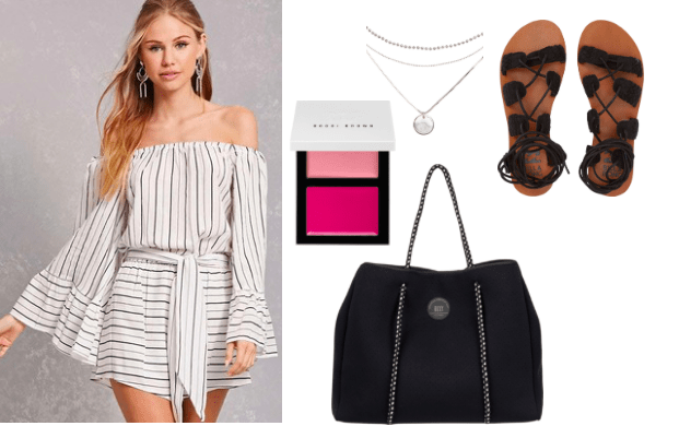 How to style an off the shoulder romper for daytime: White and black striped off the shoulder romper paired with black cloth tied sandals black tote with roped handles and a silver tiered necklace