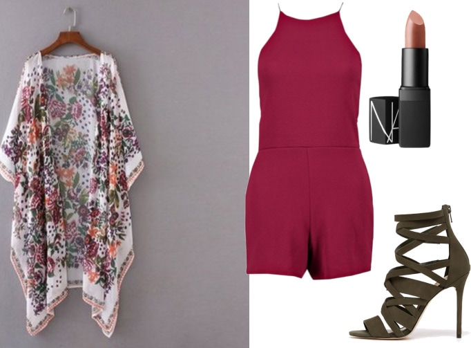 How to wear a floral kimono with a burgundy romper and olive green heels