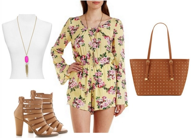 long sleeve floral romper look