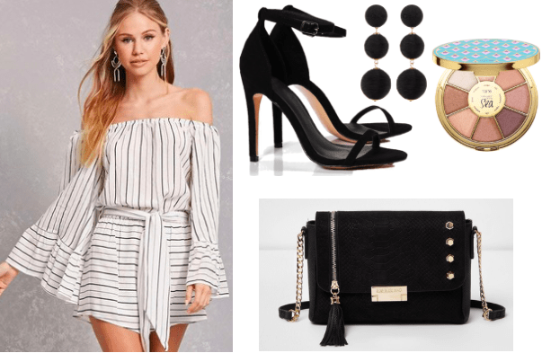 How to style an off the shoulder romper for night: White and black striped romper paired with black thin strap heels, black cross body with metallic hardware, and black earrings