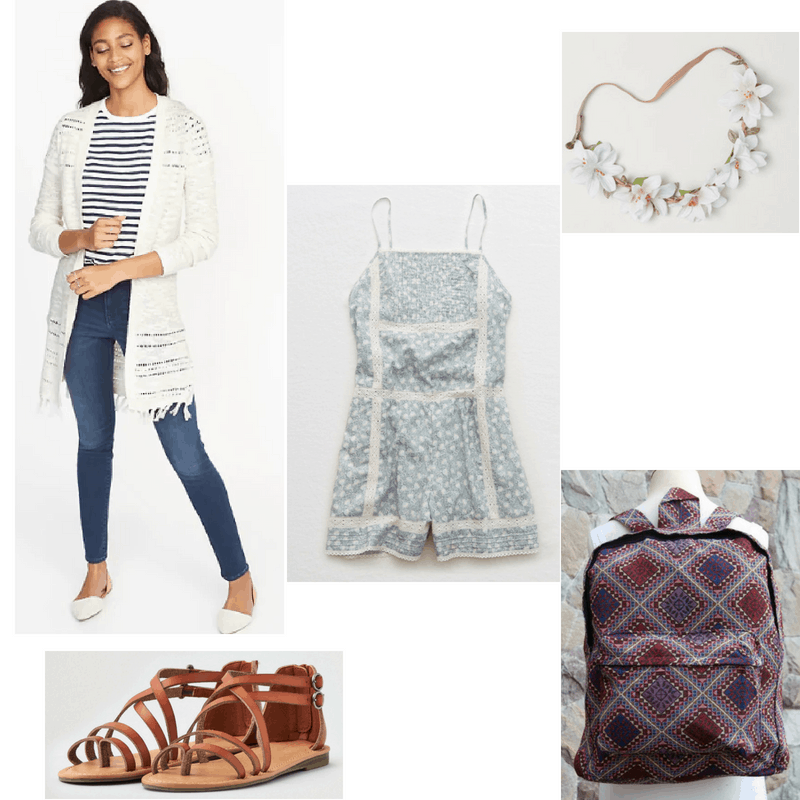 Outfit with fringe cardigan, printed romper, flower headband, sandals, and backpack