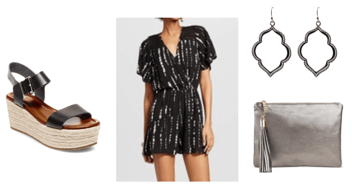 Cute and easy romper outfit: Black and white wrap romper with a simple print, metallic clutch with fringe detail, statement earrings, flatform espadrilles