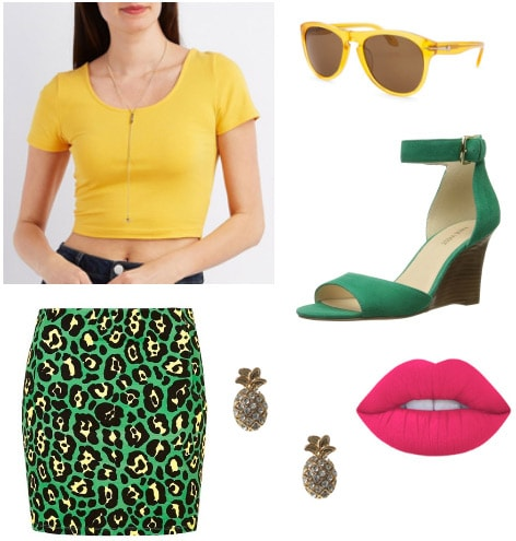 Outfit inspired by Romy and Michele's High School Reunion - leopard skirt, yellow crop top, pineapple earrings