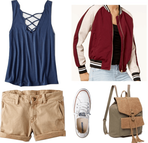 blue tank top red varsity jacket khaki shorts white converses olive backpack