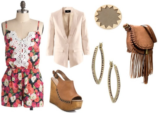 Rooftop lounge outfit - Floral romper, wedges, and cream blazer