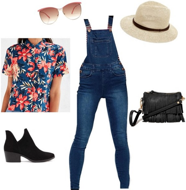 Outfit inspired by Rooney's Washed Away - overalls, floral shirt, ankle boots, hat