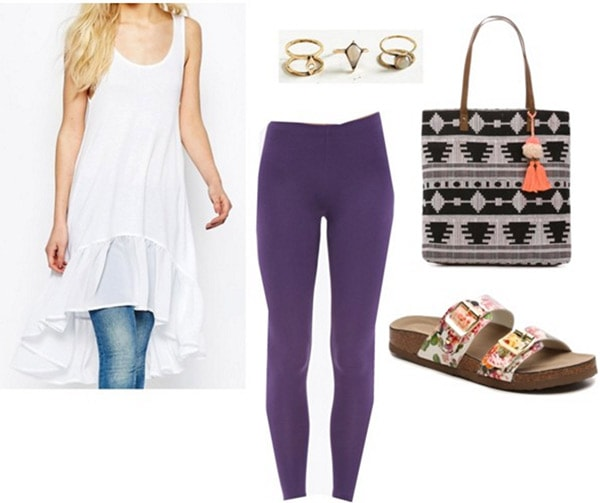 Outfit inspired by Rooney Washed Away - Purple leggings, tunic top, birkinstock sandals