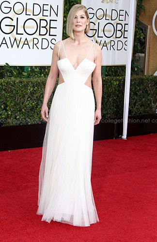 Rosamund Pike Golden Globes 2015 in white Vera Wang
