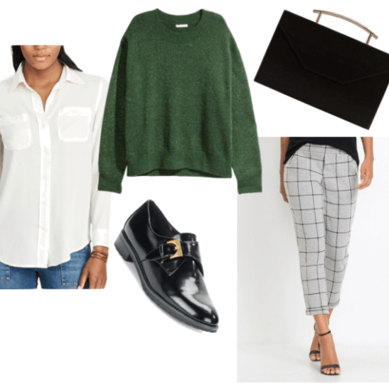 Outfit Inspired By Rosangela Blackwell from the Blackwell video game series: green crewneck knit sweater, black leather oxfords, white button-up shirt, cropped checkered pants and metallic handle clutch