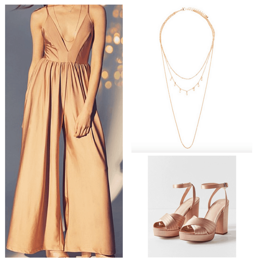 Rose gold jumper, rose gold shoes, and long, layered necklace