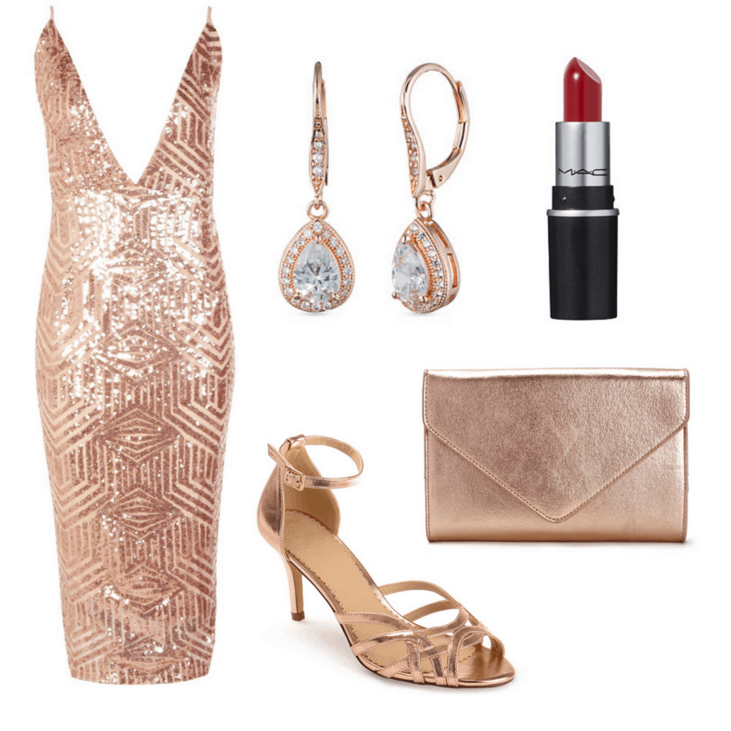 Rose gold low-cut gown with rose gold earrings, heels, bag and red lip stick