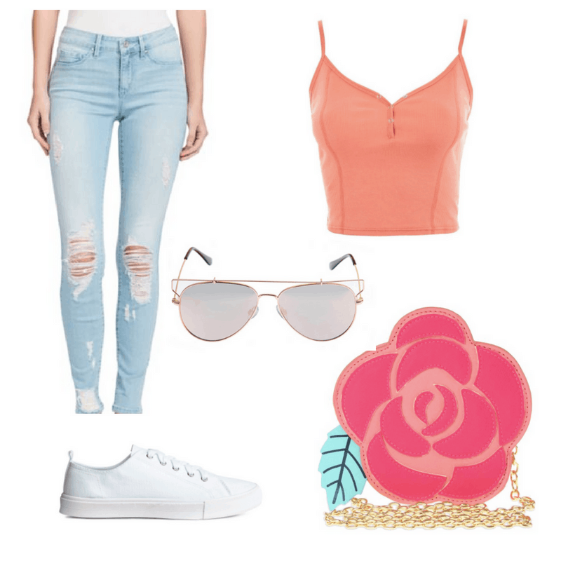 An outfit spread with a pink rose-shaped purse, peach tank top, light wash ripped jeans, white sneakers, and aviators.