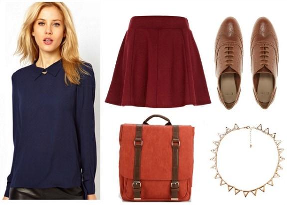 Rothko inspired outfit navy blouse burgundy skirt