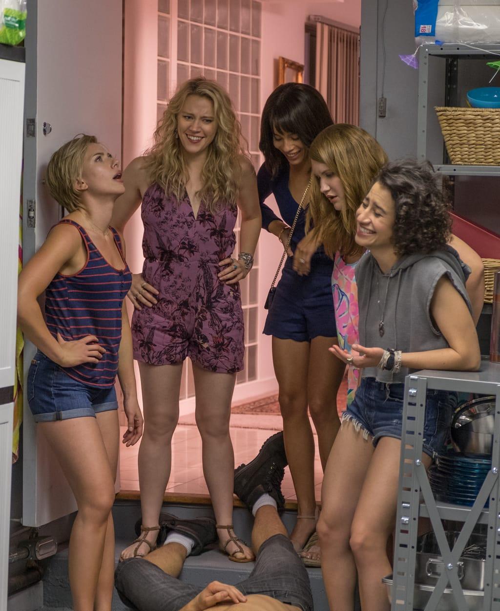 Rough Night Movie still -- Scarlett Johansson;Kate McKinnon; Zoe Kravitz ; Jillian Bell; and Ilana Glazer; in ROUGH NIGHT