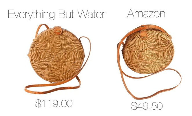 Photo including round rattan bags, one from Everything but Water and one from Amazon.