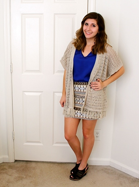 Crochet kimono with fringe, patterned skirt and royal blue top