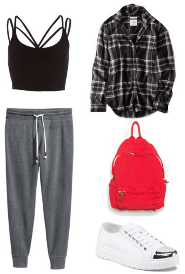 Crop top, joggers, flannel, backpack.