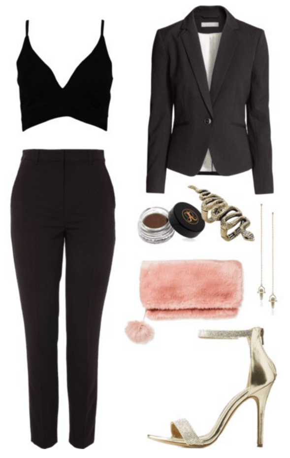 Crop top, trousers, blazer, fur bag.