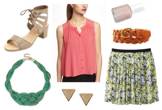 Ruche flourish coral blouse printed skirt