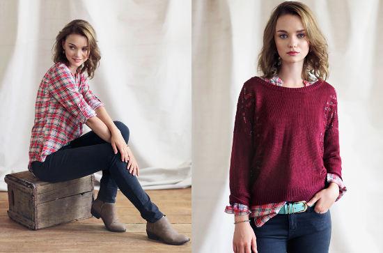 Ruche lookbook plaid shirt red sweater