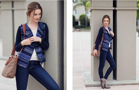 Ruche lookbook printed jacket skinny jeans