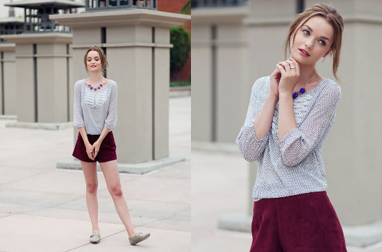 Ruche lookbook red shorts printed blouse