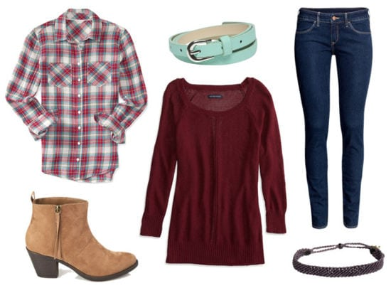 Ruche red sweater plaid shirt jeans