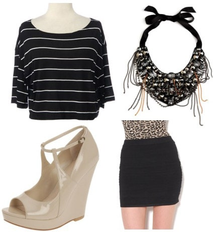 Outfit idea: How to wear a Rue21 striped shirt with a bandage skirt and beige wedges