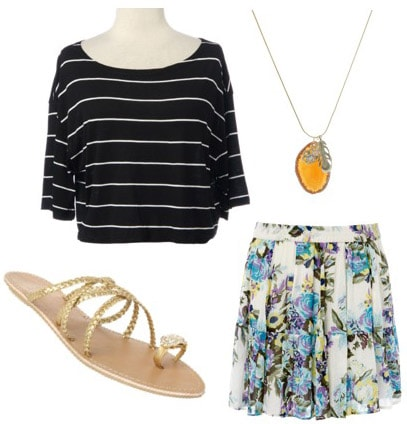 Outfit idea: How to wear a Rue21 striped shirt with a floral skirt and sandals