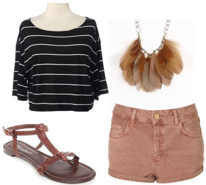Outfit idea: How to wear a Rue21 striped shirt with salmon shorts and sandals