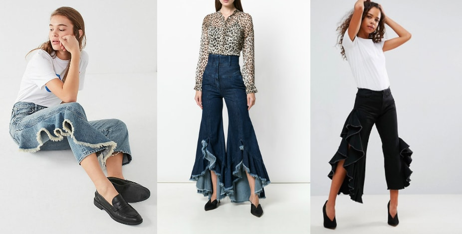 Ruffle jeans trend from left to right: Citizens of Humanity high rise side ruffle cropped jeans from Urban Outfitters, dark blue high-waisted jeans with ultra ruffled asymmetrical legs from Far Fetch, and black cropped jeans with side ruffles from ASOS.