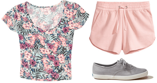 tropical print crop top pink shorts grey sneakers