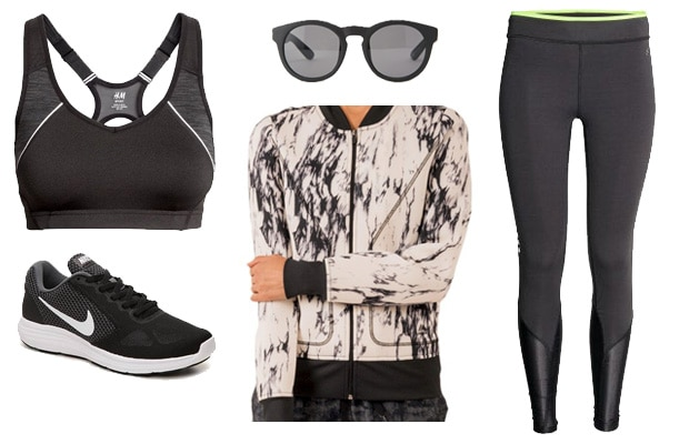 Activewear black paint running outfit
