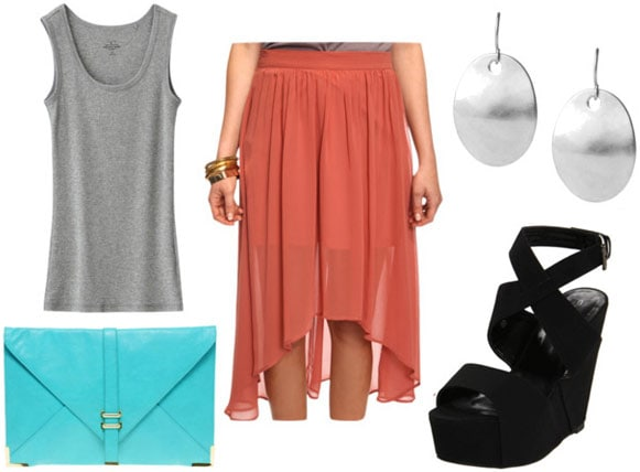 How to wear a rust colored high low skirt for night with a bright blue clutch, gray tank top, black wedges and big silver earrings