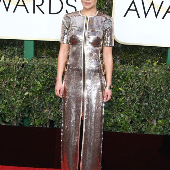 Ruth Negga in a silver Louis Vuitton gown on the 2017 Golden Globes red carpet