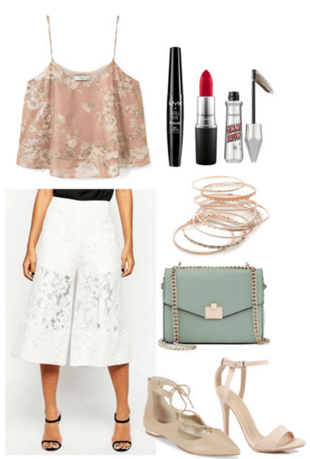 Floral tank, white culottes.