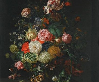 "Rahcle Ruysch's ""Still Life of Flowers - 1710"" (1710) via Wikimedia Commons"