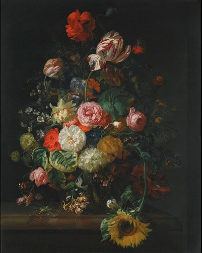 """Rahcle Ruysch's """"Still Life of Flowers - 1710"""" (1710) via Wikimedia Commons"""