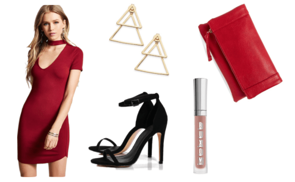 Outfit inspired by Ryan from Girls Trip: Red bodycon dress, triangle earrings, red leather foldover clutch, strappy black high heels, Buxom lipgloss in a nude shade