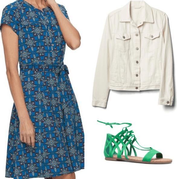 blue patterned dress white denim jacket green sandals