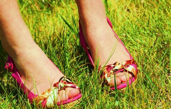 sandals in grass