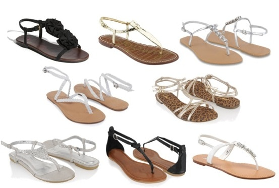 Black, white, silver & gold sandals