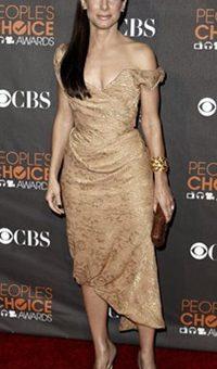 Sandra Bullock People's Choice Awards Vivienne Westwood Nude Toned Dress