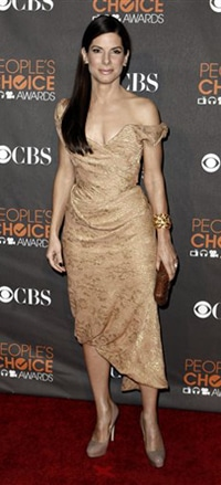 Sandra Bullock People's Choice Awards Vivienne Westwood Nude Toned Dress