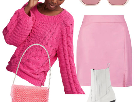 Sara Sampaio Outfit: hot pink sweater, pink faux leather mini skirt, pink slim sunglasses, pink beaded shoulder bag, white western booties