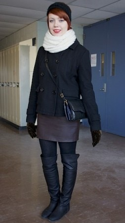 Sara, a college fashionista from Humber College wearing the latest fashion trends