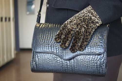 Vintage handbag and leopard print gloves on our college fashionista of the week